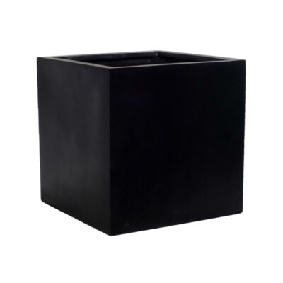 Black Matte Cube Outdoor Patio Planter