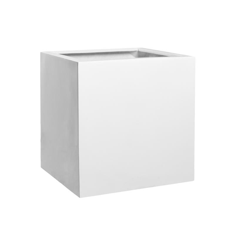 Outdoor Patio Planter Cube glossy white