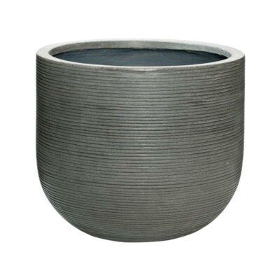 Dark grey horizontal ridge outdor patio planter