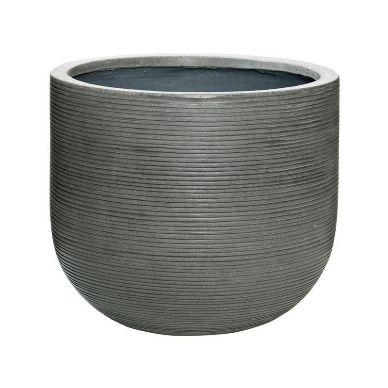 Dark grey horizontal ridge outdor patio planter