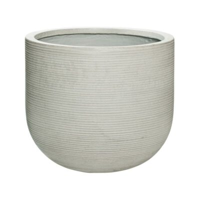 Light grey horizontal ridge outdoor patio planter