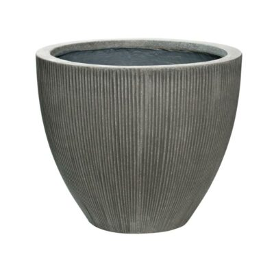 Dark grey vertical ridge outdoor patio planter