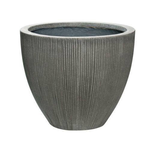 Dark grey vertical ridge outdoor patio planter