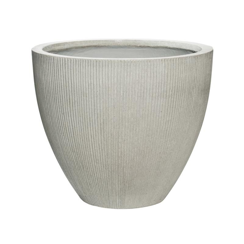 Light grey vertical ridge outdoo patio planter