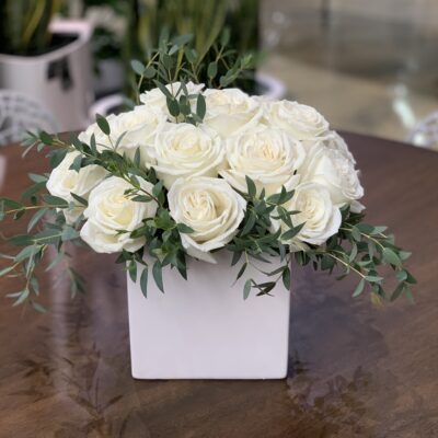 white rose floral arrangement madison WI