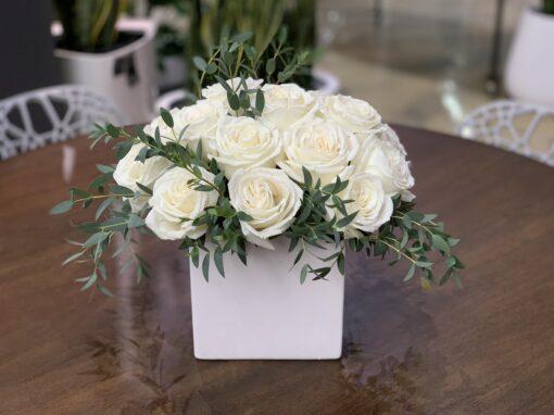 white rose floral arrangement madison WI